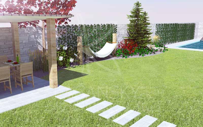 vizualizácia pozemku zo záhradou